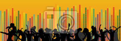 Satz von Partei und Völker Equalizer auf einem orangefarbenen Hintergrund