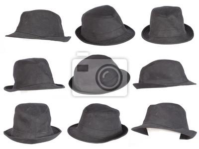 Satz von schwarzen Hut isoliert auf weiß