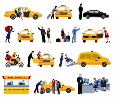 Sticker Satz Von Taxi-Service-Ikonen
