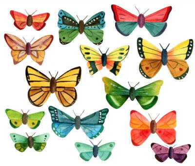 Sticker Satz von vielen verschiedenen Aquarell Schmetterlinge auf weißem Hintergrund