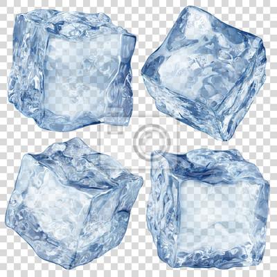 Sticker Satz von vier realistischen lichtdurchlässigen Eiswürfeln in der blauen Farbe lokalisiert auf transparentem Hintergrund. Transparenz nur im Vektorformat