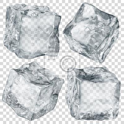 Sticker Satz von vier realistischen lichtdurchlässigen Eiswürfeln in der grauen Farbe lokalisiert auf transparentem Hintergrund. Transparenz nur im Vektorformat
