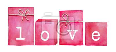 """Satz von vier rosa Geschenkboxen mit gedruckten Buchstaben und Wort """"Liebe"""". Dankbarkeit, Romantik, Urlaub. Quadratische und rechteckige Form, Bastelschnur. Hand gezeichnete Aquarellillustration lokal"""