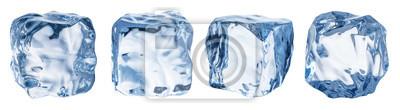 Sticker Satz von vier verschiedenen Eiswürfelgesichtern. Beschneidungspfad