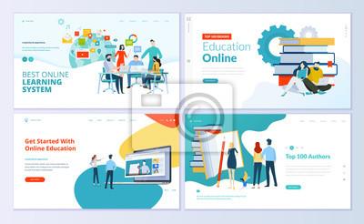 Sticker Satz von Webseiten-Designvorlagen für E-Learning, Online-Bildung, E-Book.  Moderne Vektorillustrationskonzepte für die Entwicklung von Websites und mobilen Websites.