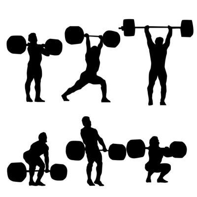 Sticker Sauber und Ruck Silhouette des Gewichthebens