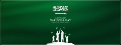 Sticker Saudi Arabia national day in September 23 th. Saudi Arabia flag with Happy independence day celebrating vector illustration
