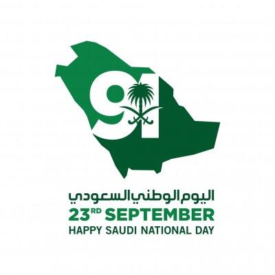 Sticker Saudi National Day. 91. 23rd September. Arabic Text: Our National Day. Kingdom of Saudi Arabia. Vector Illustration. Eps 10.