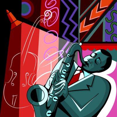 Saxophonist auf einem bunten Hintergrund
