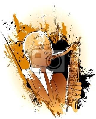 Saxophonist auf einem Grunge- Hintergrund