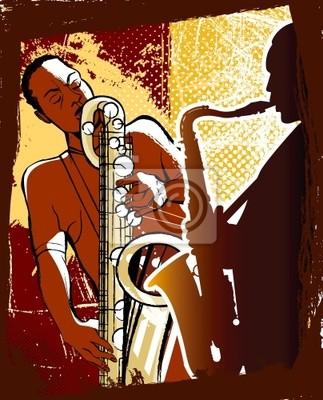 Saxophonisten auf Grunge hintergrund