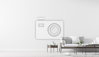 Sticker Scandinavian style interior with sofa and coffe table. Empty wall mock up in minimalist interior. 3D illustration.