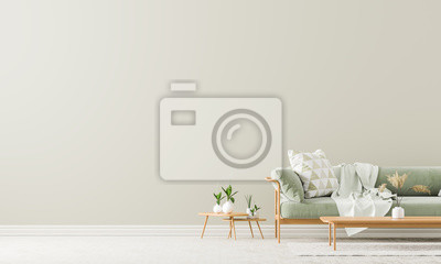 Sticker Scandinavian style interior with sofa and coffe table. Empty wall mock up in minimalist interior with pastel colors. 3D illustration.