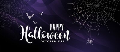 Sticker scary halloween background with bats and spider web