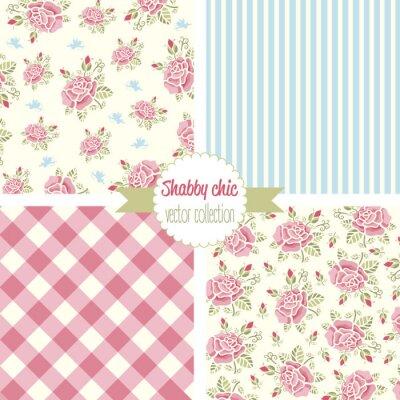 Sticker Schäbige schicke Rosen-Muster. Set nahtlose Muster. Vintage Blumenmuster, Hintergründe. Abbildung