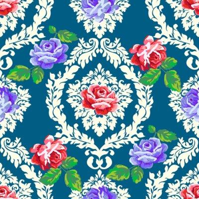 Sticker Schäbiges schickes Damastmuster der Rose. Vector nahtlose Vintage floralen Hintergrund