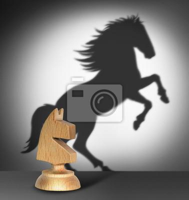 Schach Pferd mit Schatten wie ein wildes Pferd