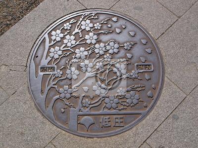 Schacht Kanaldeckel Auf Der Straße Bei Ueno Park Tokyo Japan
