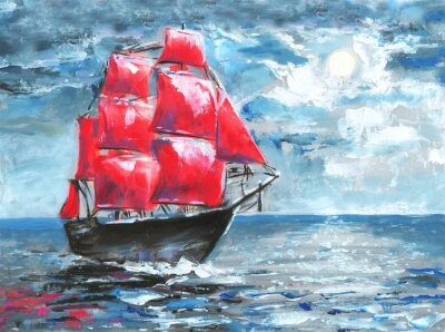 Scharlachrotes Segel, Ölgemälde. Schiff im Ozean. Feier in St. Petersburg, Illustration über den Roman