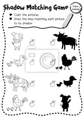 Schatten matching spiel von nutztieren für vorschule kinder ...
