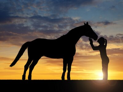 Sticker Schattenbild eines Mädchens, die einen Kuss Pferd im Sonnenuntergang