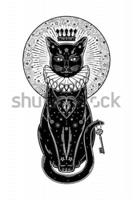 Sticker Schattenbildporträt der schwarzen Katze mit geheimem Schlüssel im Hintergrund des Mondes. Idealer Halloween-Hintergrund, Tätowierungskunst, boho Design. Perfekt für Print, Poster, T-Shirts, Textilien.
