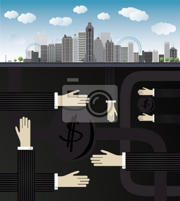 Schattenwirtschaft Illustration. Hand, Geld geben