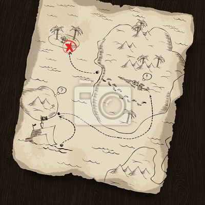 Schatzkarte auf hölzernen Hintergrund. Karte unter Maske können Sie chang