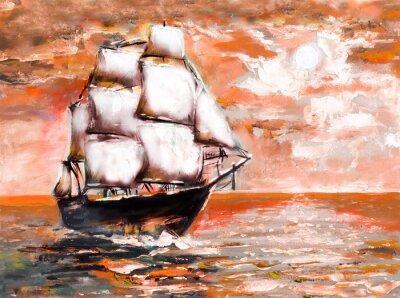 Schiff im Ozean mit weißen Segeln, Ölgemälde. Sonnenuntergang