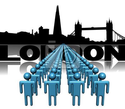Schlangen von Menschen mit London Skyline illustration