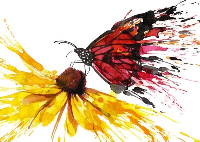 Sticker Schmetterling auf der Blume