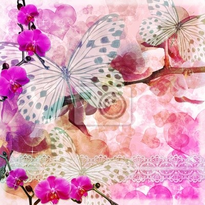 Schmetterlinge und Orchideen Blumen rosa Hintergrund (1 Satz)