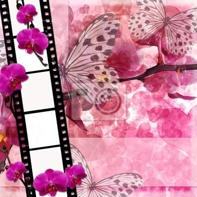 Schmetterlinge und Orchideen Blumen rosa Hintergrund mit Film fram