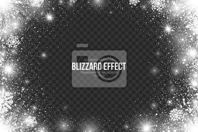 Sticker Schnee Blizzard Wirkung auf Transparente Hintergrund Vektor-Illustration. Zusammenfassung hellen weißen Schimmer glühende Scatter fallen Runde Partikel, Lichter und Schneeflocken