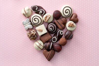 Sticker Schokolade Bonbons Herzen