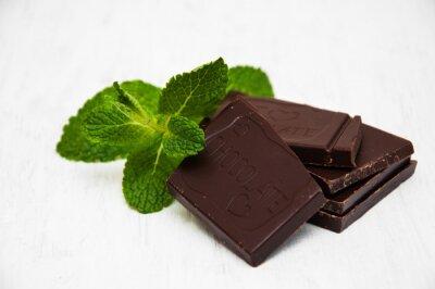 Sticker Schokoladenstücke mit einem Blatt Minze