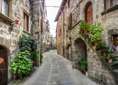 Sticker Schöne Aussicht auf alte traditionelle Häuser und idyllische Gasse in der historischen Stadt Vitorchiano, Viterbo, Lazio, Italien