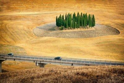 Sticker Schöne Aussicht auf Sommerlandschaft in der Toskana