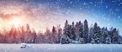 Sticker Schöne Baum im Winter Landschaft am späten Abend im Schneefall