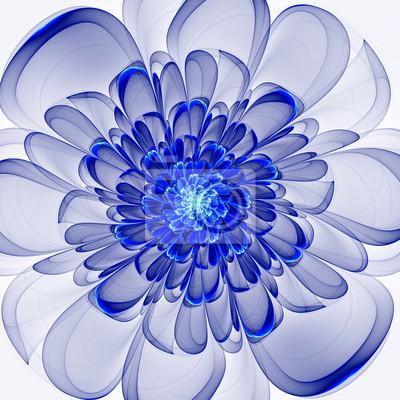 Schöne blaue Blume auf weißem Hintergrund. Computer gefertigt gr