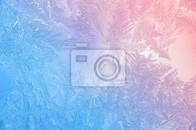 Sticker Schöne Closeup Winter Bunte Hintergrund Mit Eisige Frost Muster