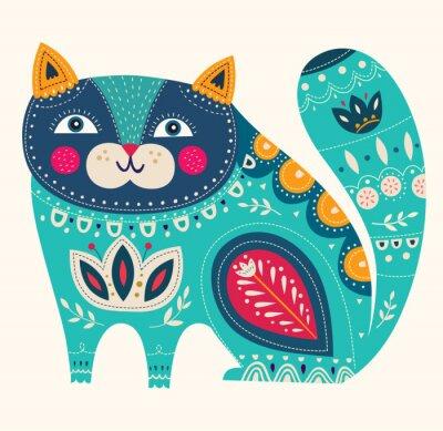 Sticker Schöne dekorative Vektor-Katze in blauer Farbe
