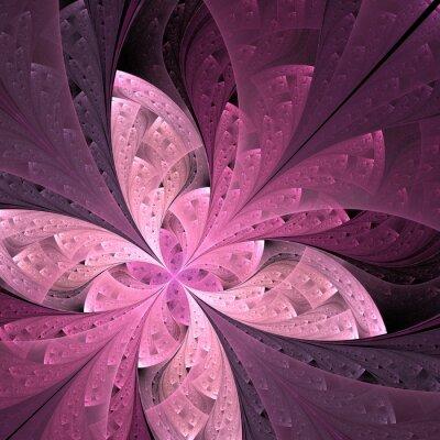 Sticker Schöne diagonale fraktale Blume oder Schmetterling im Buntglas