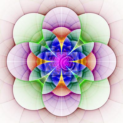 Sticker Schöne fraktale Blume in blau, grün und violett.