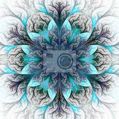 Schöne fraktale Blume in blau und grau. Computer gefertigt gr