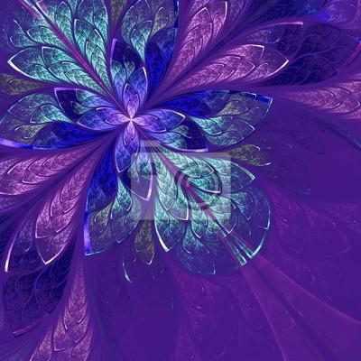 Schöne fraktale Blume in blau, violett und grün. Computer-gen