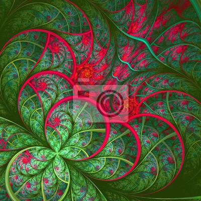 Schöne fraktale Blume in grün und rot. Computer generierte gr