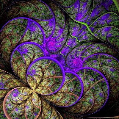 Schöne fraktale Blume in grün und violett. Computer gefertigt