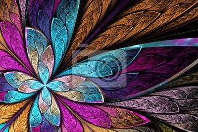 Sticker Schöne fraktale Blume oder Schmetterling in Glasfenster st