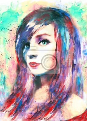 Schöne Frau, Aquarellmalerei, bunt